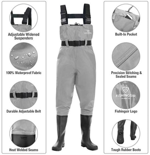 FISHINGSIR Fishing Chest Waders | Trout | Fly | Saltwater | Freshwater | Hunting | Stream | River | Sea Bass