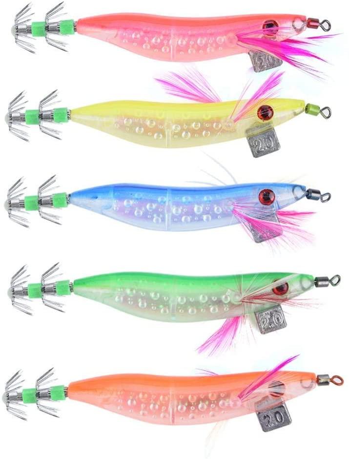 VGEBY 5Pcs Squid Jig | Egi | Eging | Octopus | Cuttlefish | Fishing | Bait